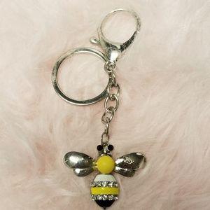 Cute Honeybee Yellow & Black rehinstone keychain